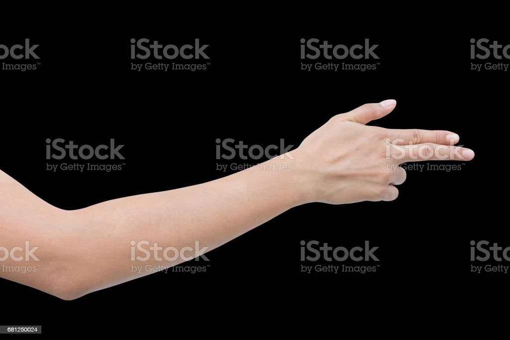 Right back hand a woman show forefinger, index finger and thumb action in correct, pointing, shoot sign. isolated on black background royalty-free stock photo