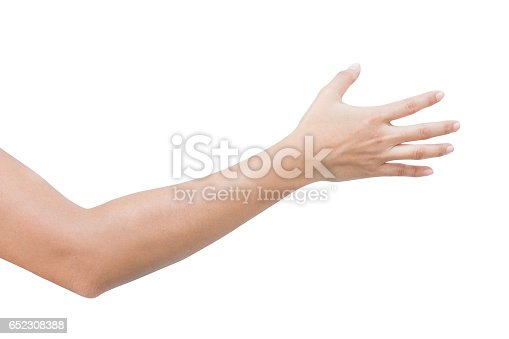 istock right back hand of a woman trying to reach or grab something. fling, touch sign. Reaching out to the left. isolated on white background 652308388