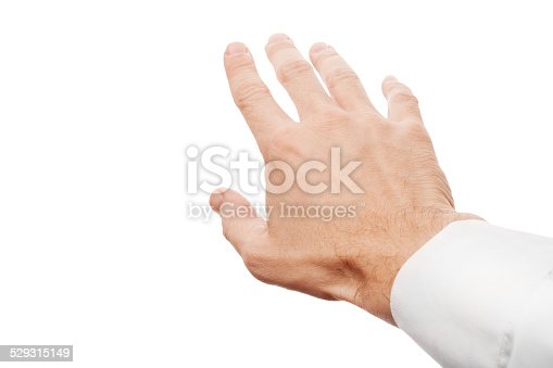 182925103 istock photo Right business man hand trying to grab something 529315149