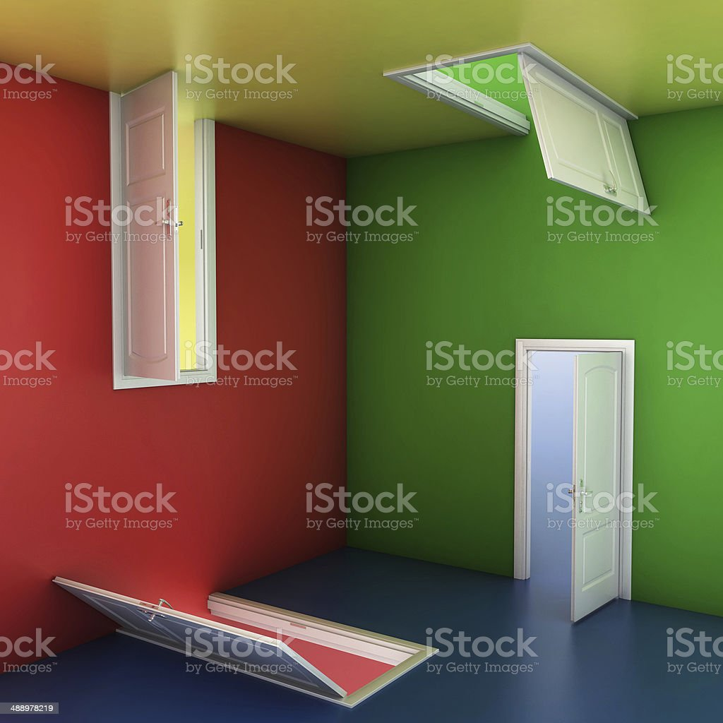 right choice concept, abstract doors 3d illustration stock photo