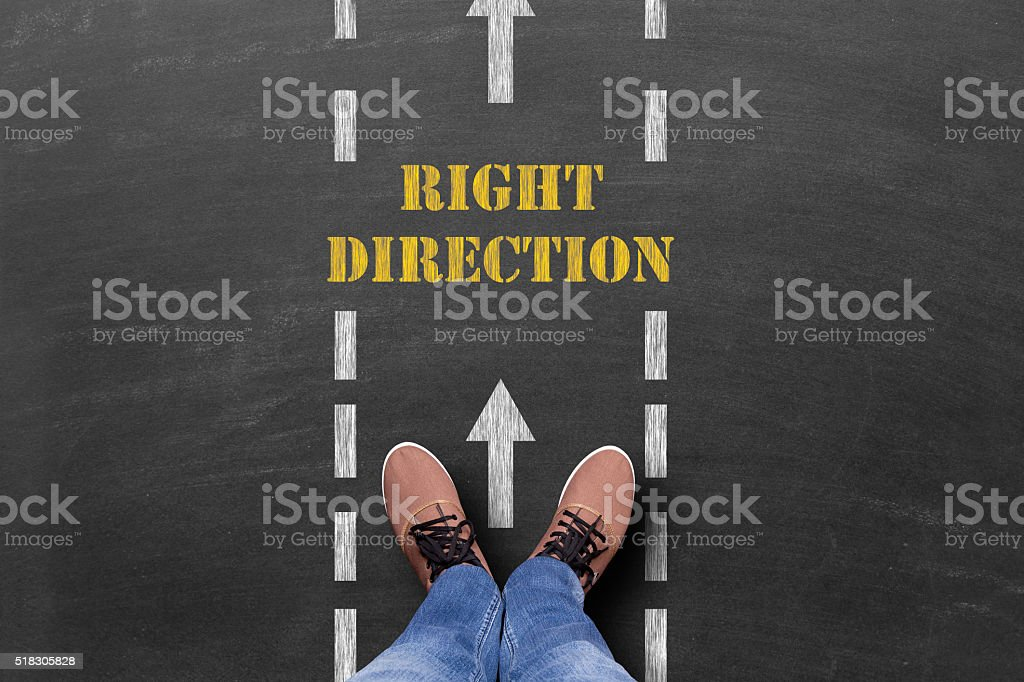 Right direction text on road stock photo