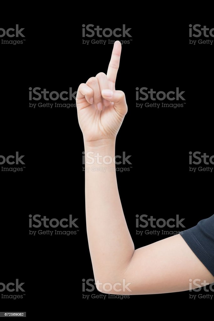 right hand a woman show the first, number one sign, point to aim. isolated on black background stock photo