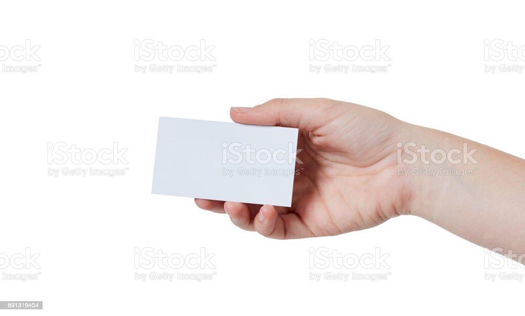 Main Droite Fermoirs Blanc Business Ou Carte De Visite Photo Libre Droits