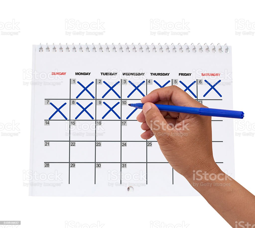 Right Hand Cross Out Calendar Dates stock photo