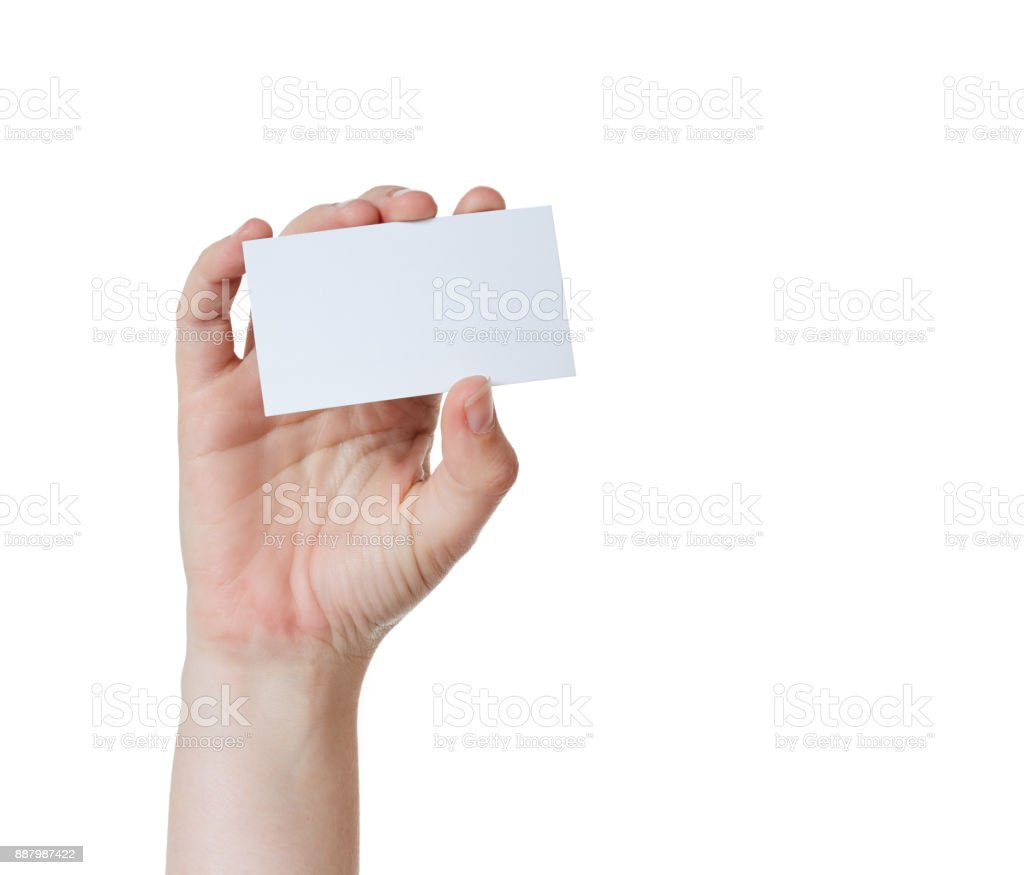 Right Hand Holds Up Blank Business Card Stock Photo & More Pictures ...