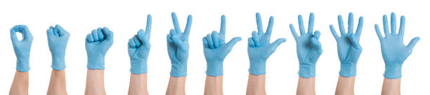Right hand wearing latex surgical glove with gesture number from zero to five on white background. Multiple images. Collage Right hand wearing latex surgical glove with gesture number from zero to five on white background. Multiple images. Collage protective glove stock pictures, royalty-free photos & images