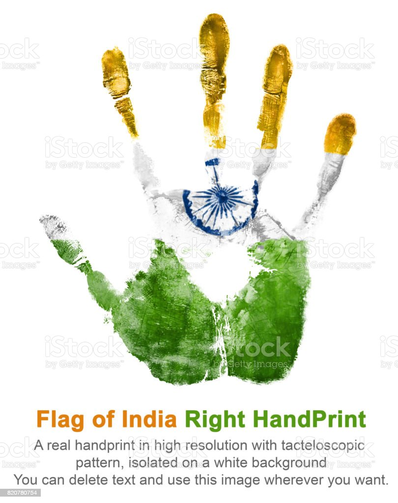 Right handprint gouache in national indian colors of state flag stock photo