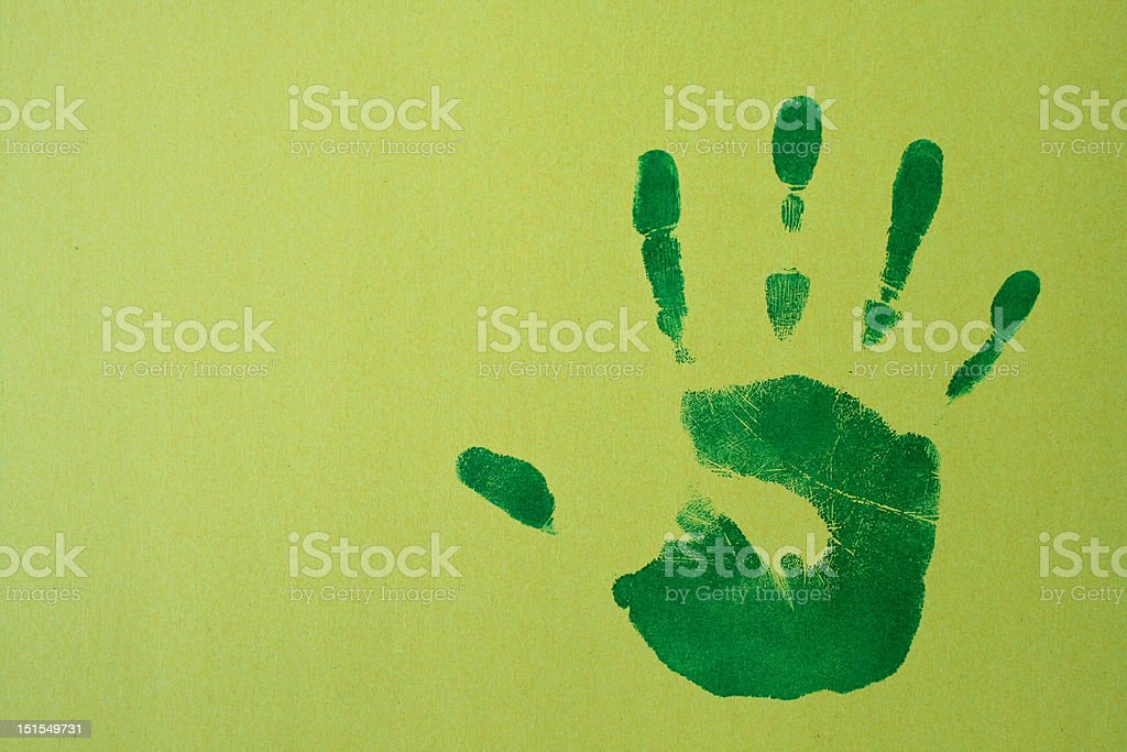 Right handprint on graded paper royalty-free stock photo