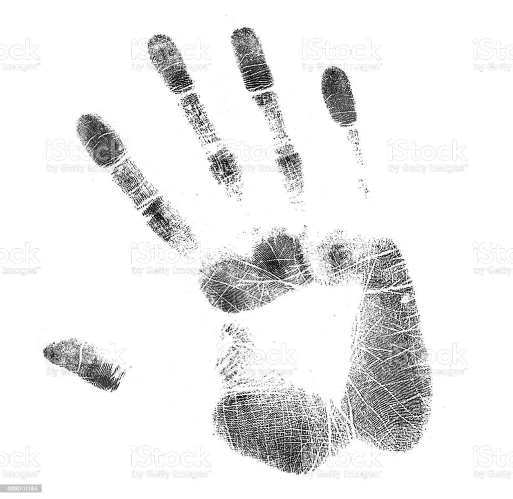 Fotografía de Derecho Handsprint En Blanco Y Negro y más banco de ...