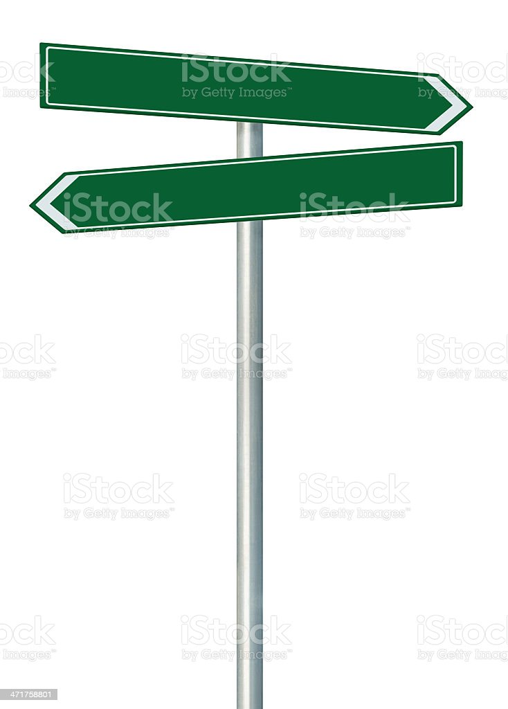 Right left road route direction pointer this way signs, green royalty-free stock photo