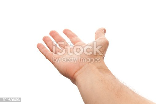 182925103 istock photo Right male hand with empty place for holding something 524626093