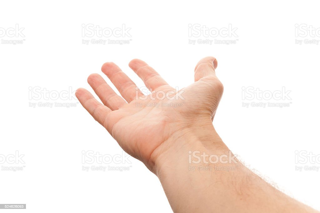 Right male hand with empty place for holding something stock photo