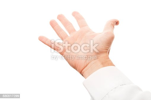 182925103 istock photo Right man hand with empty place, isolated on white 530517299