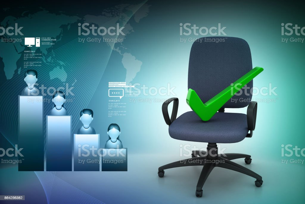 Right mark sitting comfortable computer chair royalty-free stock photo