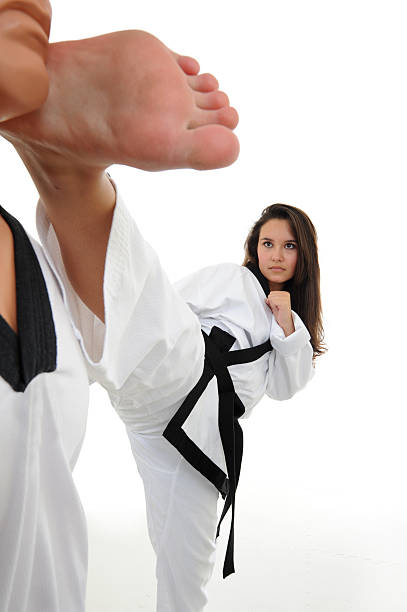 right on the sweet spot - karate stock photos and pictures