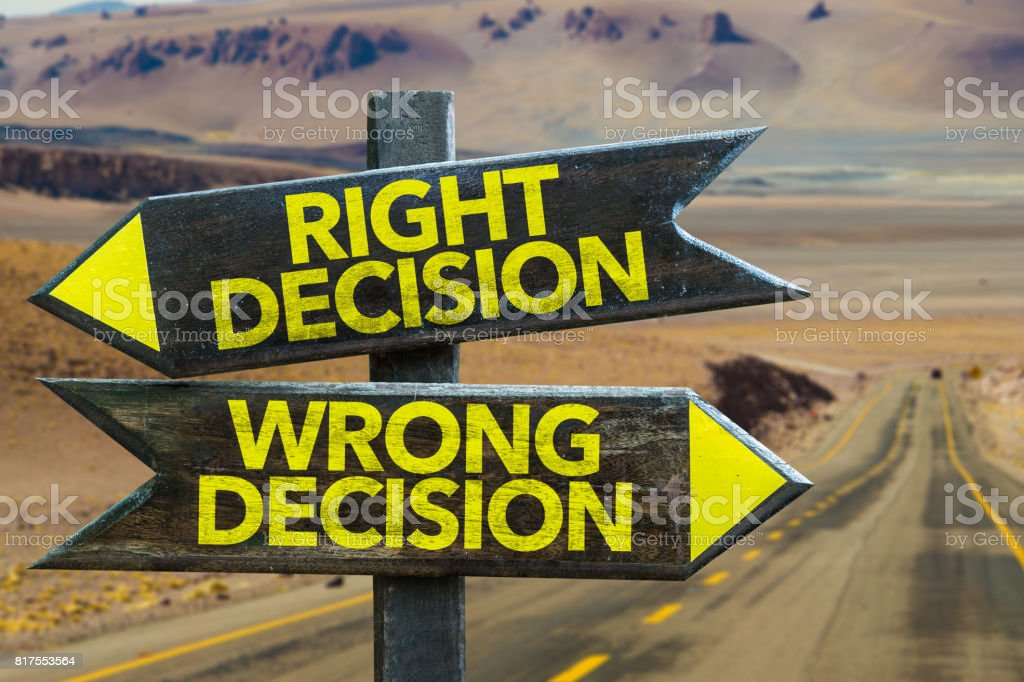 Right or Wrong Decision stock photo