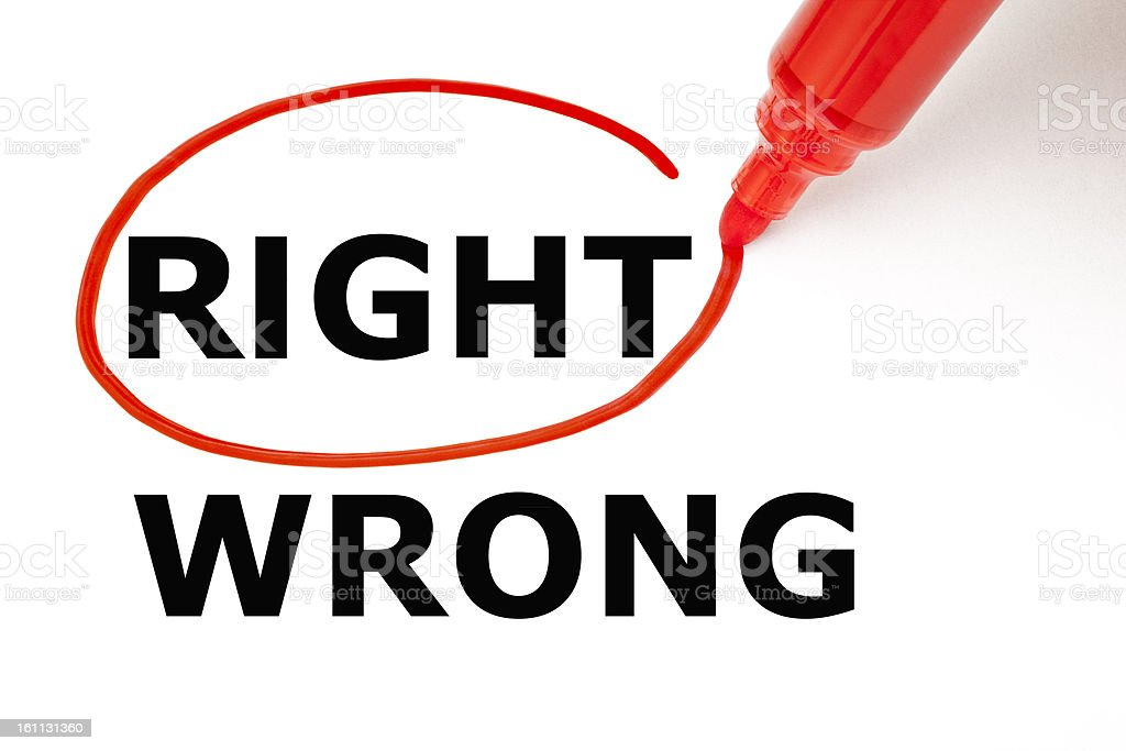 Right or Wrong with Red Marker royalty-free stock photo