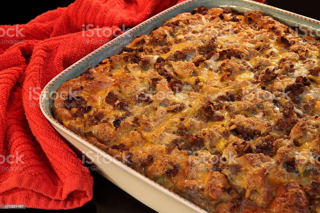 Right out of the oven breakfast casserole stock photo