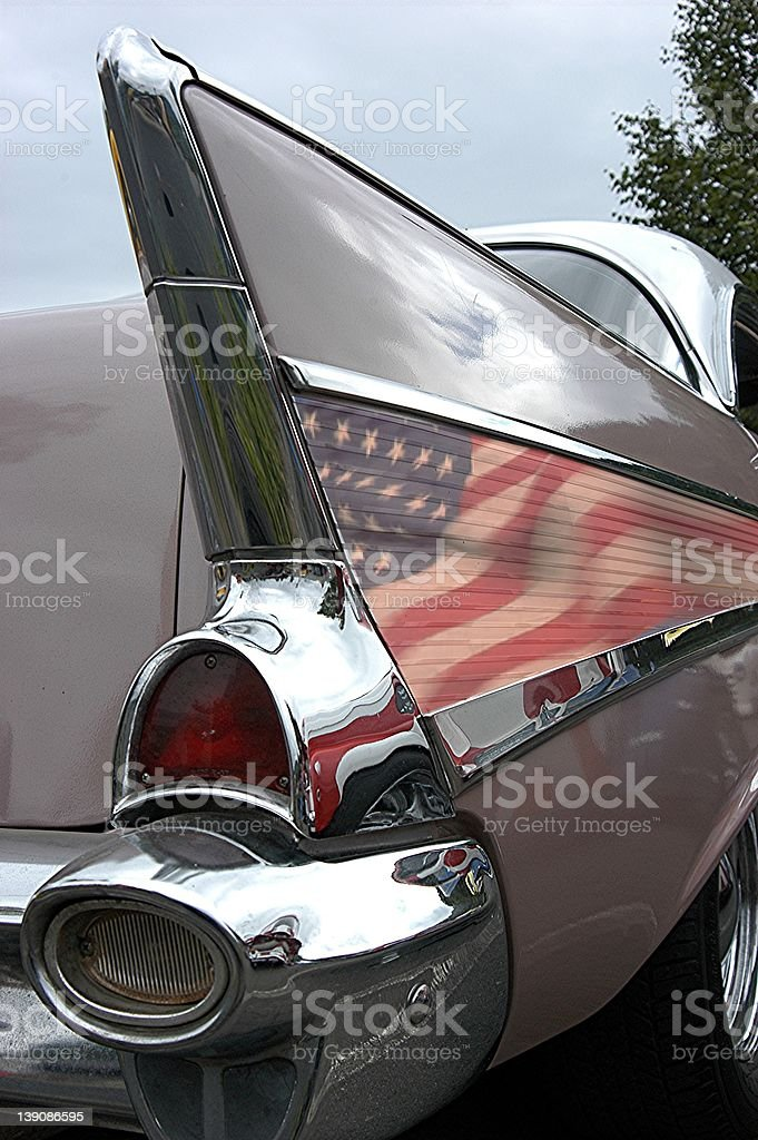 Right Rear Quarter View of a 1957 Chevrolet Belair stock photo