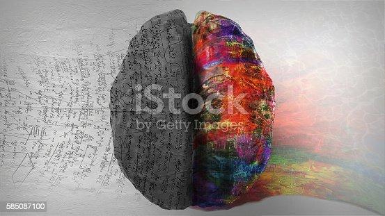 585087100istockphoto Right Side - Left Side Hemisphere of Brain 585087100