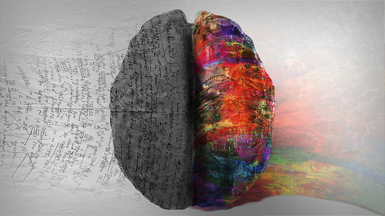 Right Side Left Side Hemisphere Of Brain Stock Photo - Download Image Now