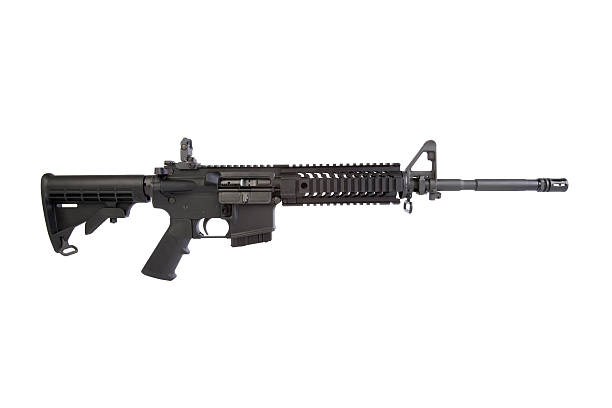 AR-15 Right Side Right side of an AR-15 rifle. Shot against a white background. Visit some of these other fine collections. ar 15 stock pictures, royalty-free photos & images
