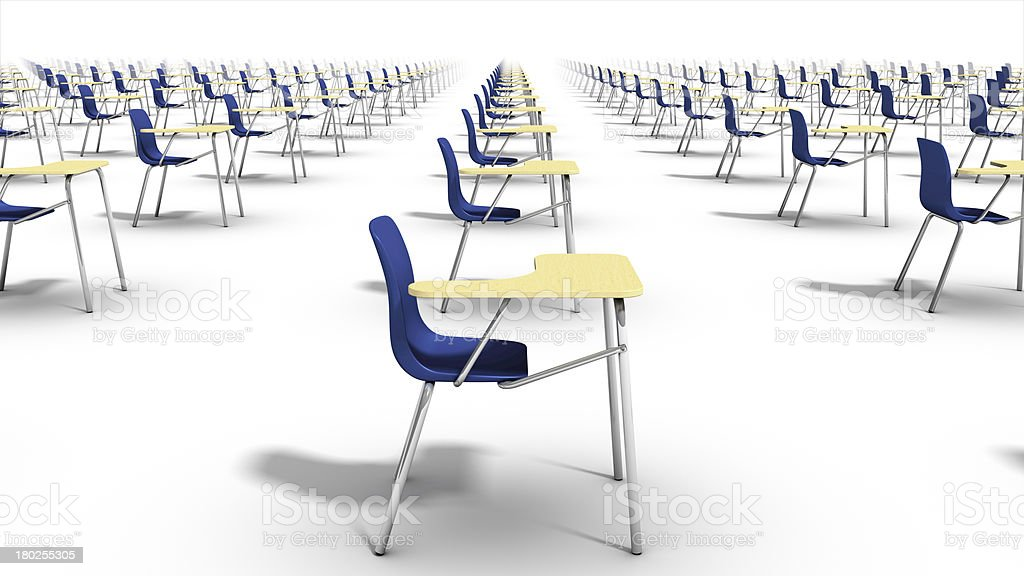 Right side view of endless school chairs. royalty-free stock photo