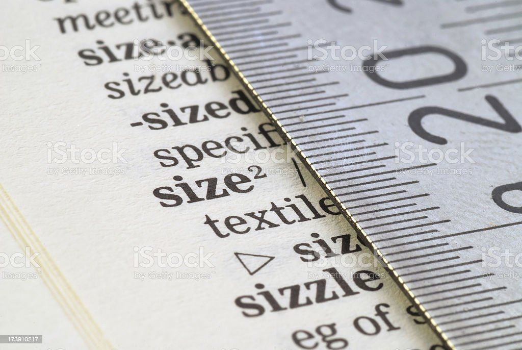 right size highligted in dictionary royalty-free stock photo