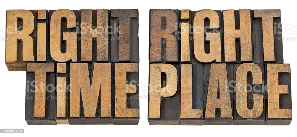 right time and place in wood type royalty-free stock photo