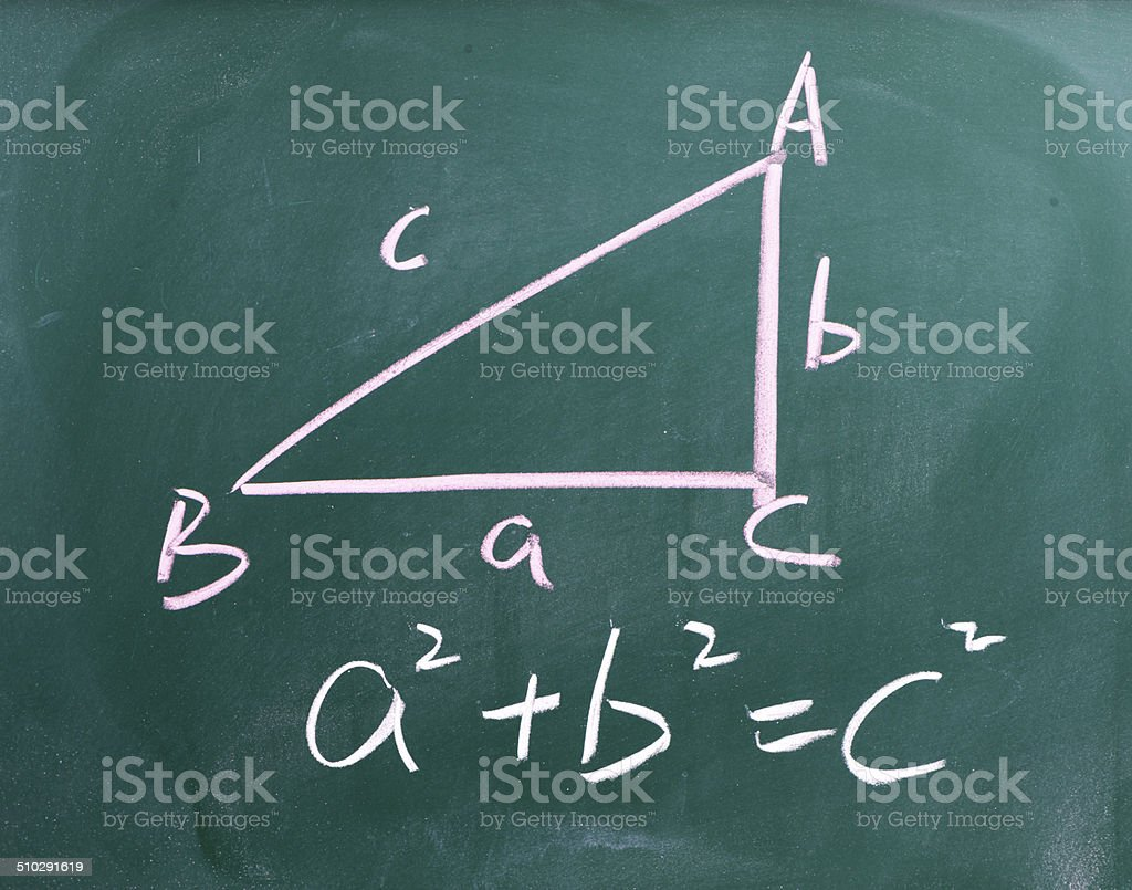 Right triangle with pythagorean formula on a blackboard stock photo