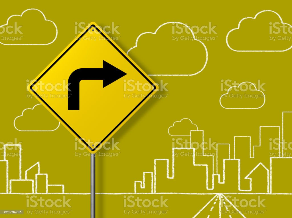 Right Turn Sign - Business Chalkboard Background stock photo
