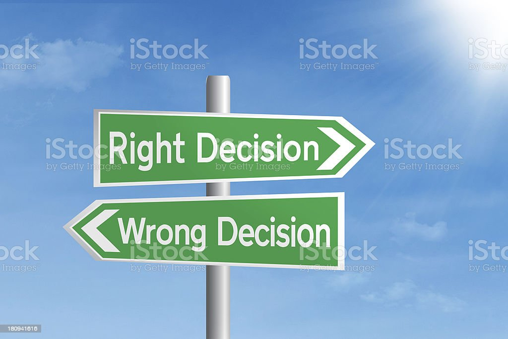 Right vs wrong decision royalty-free stock photo