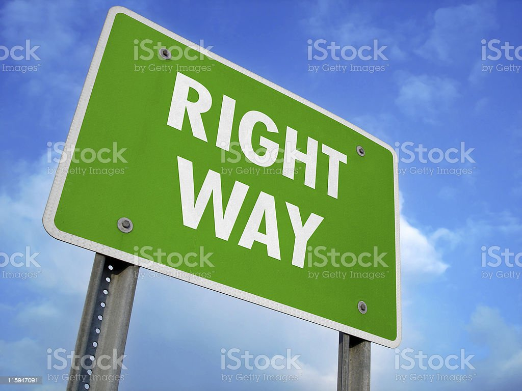 Right Way Fictional Sign royalty-free stock photo
