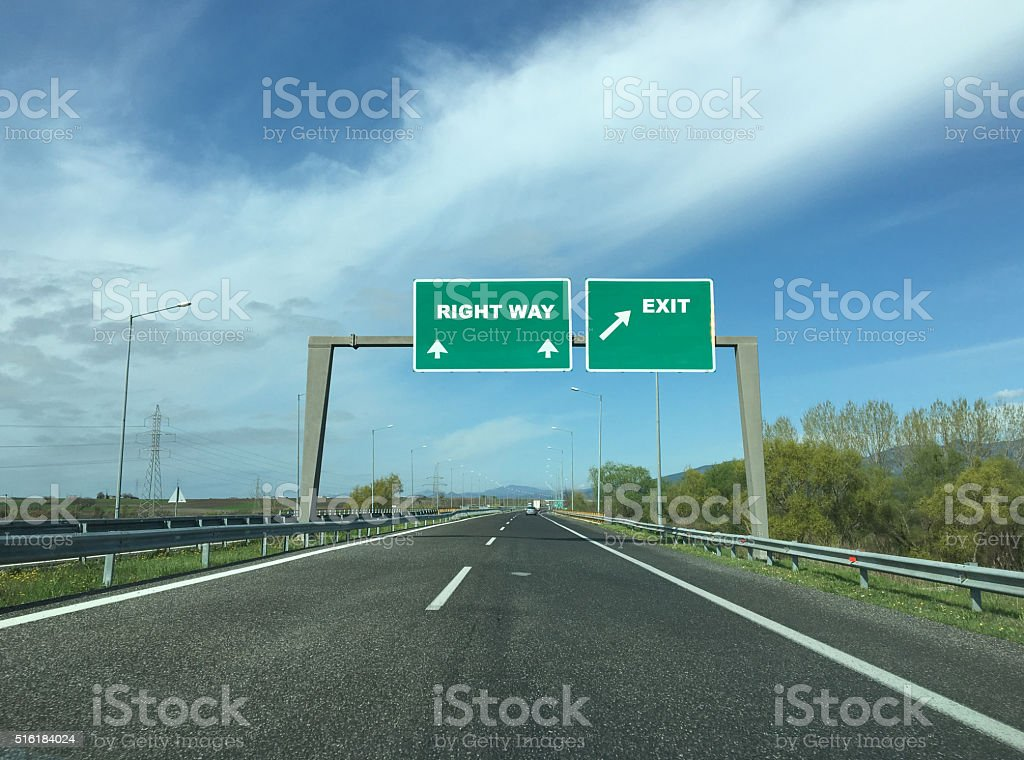Right Way on highway stock photo