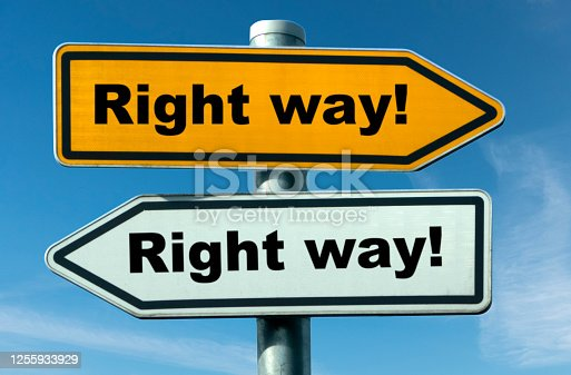 two signs point in opposite directions with the claim that it was the right way