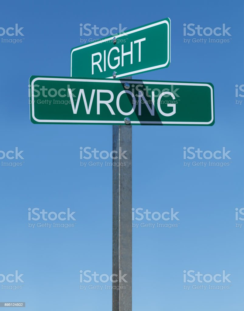 Right Wrong Sign stock photo