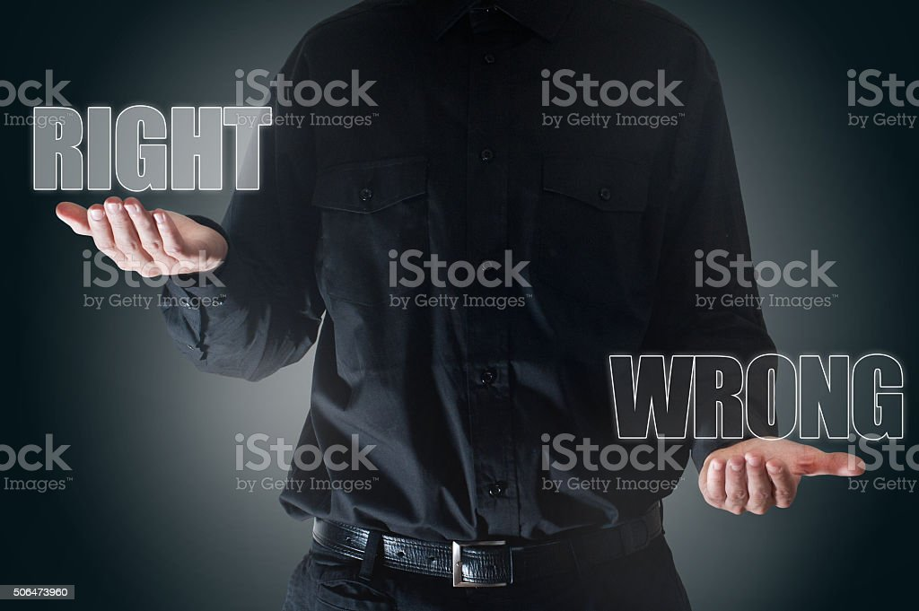 Right  / wrong touch screen concept (Click for more) stock photo