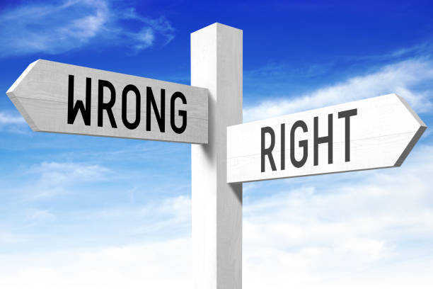 Right, wrong - wooden signpost White wooden signpost/ crossroads sign with two arrows -