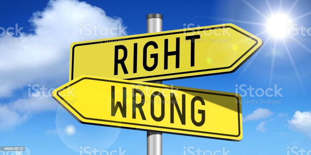 Right, wrong - yellow road-sign stock photo