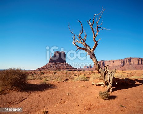 Monument Valley, right-mitten rock with vast sandstone and buttes rising above the valley floor on the Arizona-Utah state line