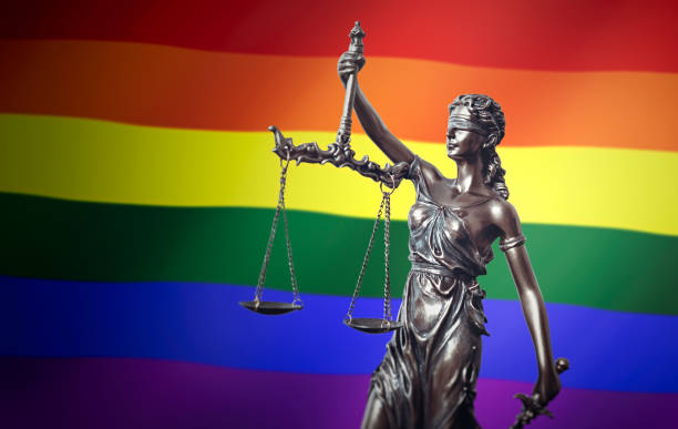 LGBT rights, law, legal, lady justice concept stock photo