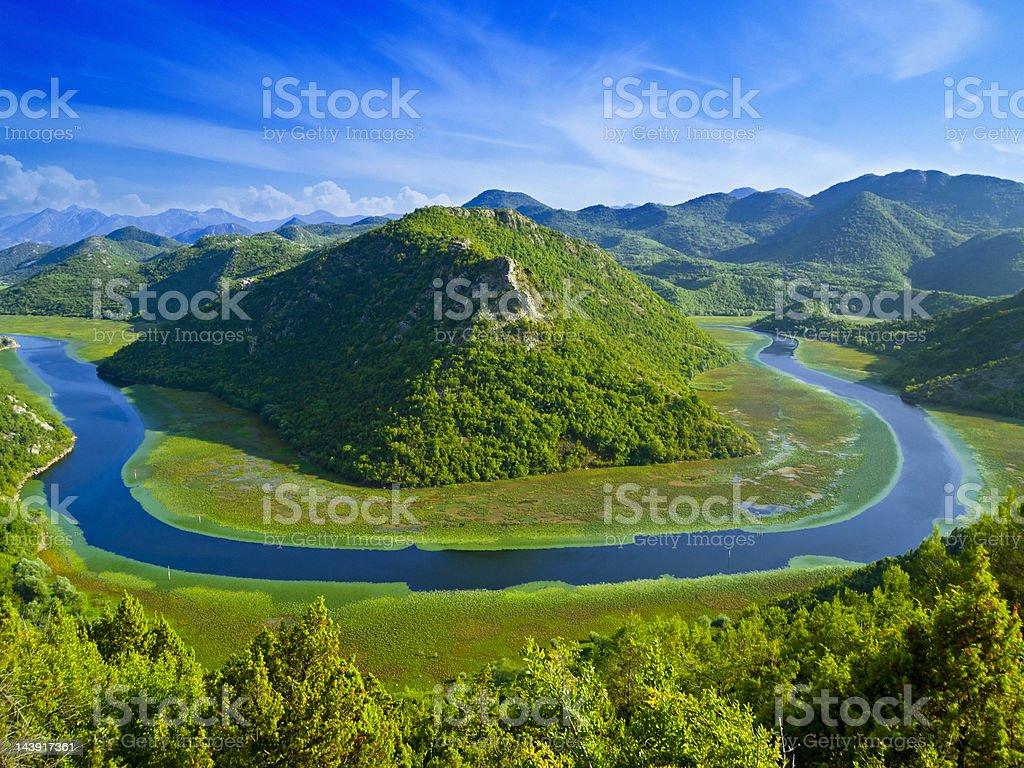 Rijeka Crnojevića, Crnojevic River, Lake Skadar National Park, Montenegro, Europe royalty-free stock photo