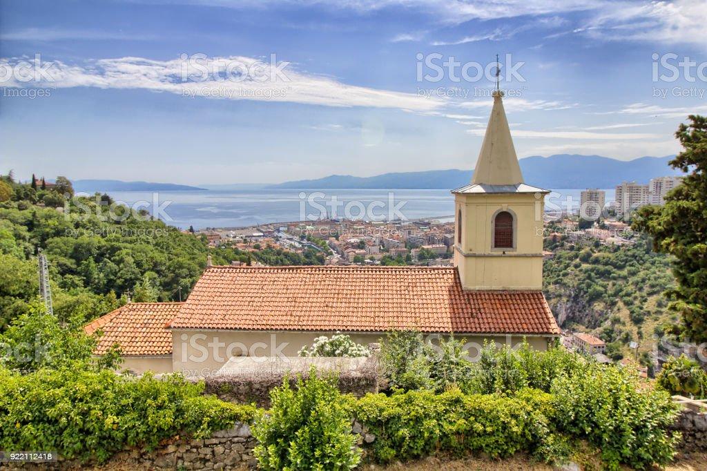 Rijeka - panoramic view from Trsat Castle - Croatia stock photo