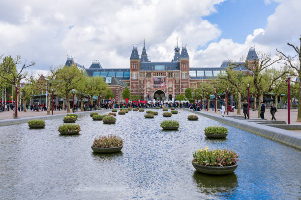 Rijksmuseum in the Amsterdam Rijksmuseum is a Dutch national museum dedicated to arts and history in Amsterdam. The museum is located at the Museum Square in the borough Amsterdam South, close to the Van Gogh Museum, the Stedelijk Museum Amsterdam, and the Concertgebouw. rijksmuseum stock pictures, royalty-free photos & images