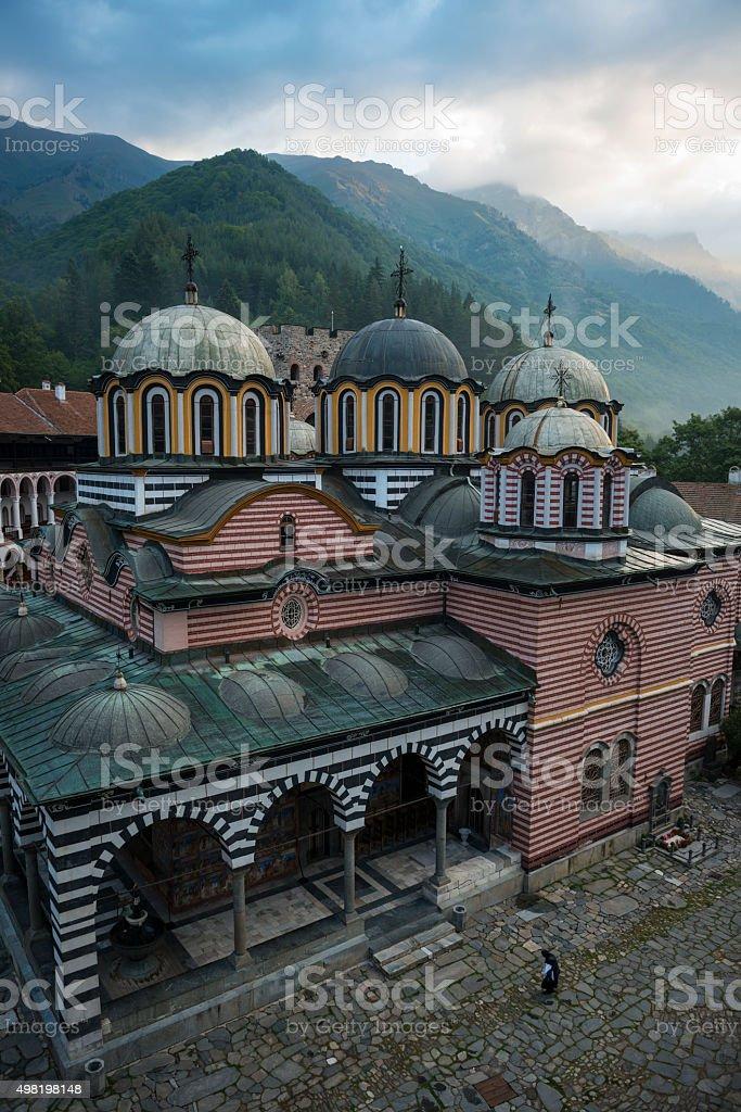 Rila Monastery and mountains in Bulgaria stock photo