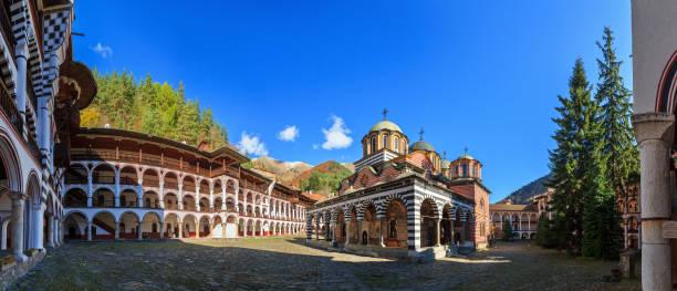 Rila monastery blue sky panorama stock photo