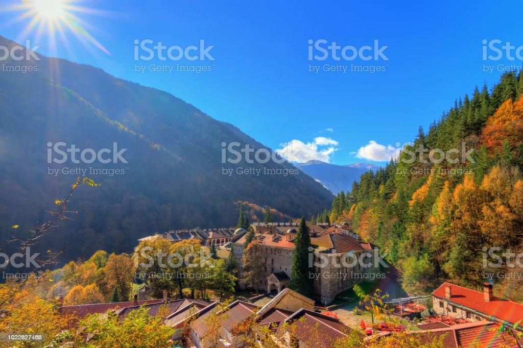 Rila monastery valley sunrise stock photo