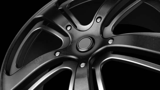 fälg svart metal grunge närbild 3d-rendering - wheel black background bildbanksfoton och bilder