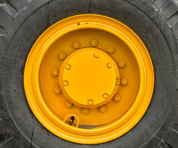 Rim of a large wheel tractor stock photo