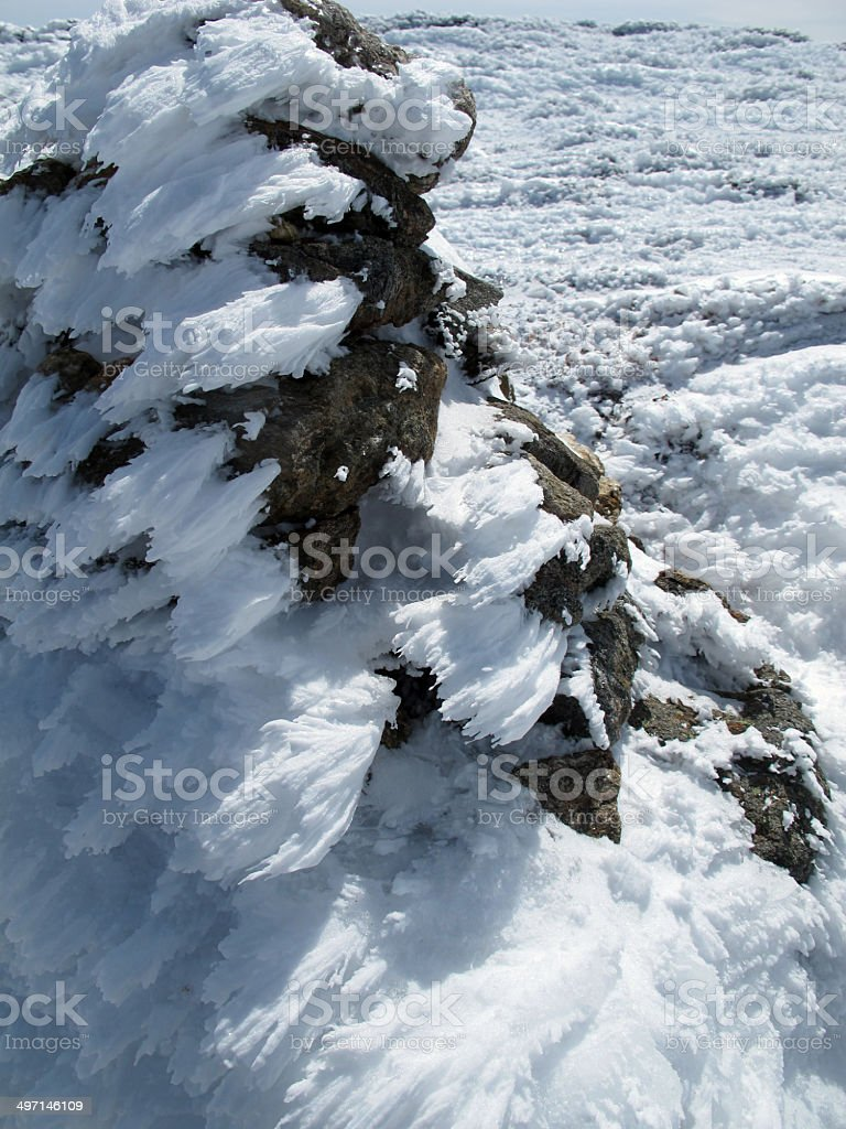 Rime Ice Covered Cairn stock photo